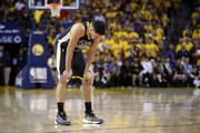 Klay Thompson #11 of the Golden State Warriors reacts against the Toronto Raptors in the second half during Game Four of the 2019 NBA Finals at ORACLE Arena on June 07, 2019 in Oakland, California. NOTE TO USER: User expressly acknowledges and agrees that, by downloading and or using this photograph, User is consenting to the terms and conditions of the Getty Images License Agreement.