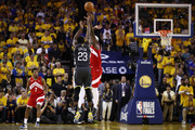 Draymond Green #23 of the Golden State Warriors attempts a three point basket against the Toronto Raptors in the second half during Game Six of the 2019 NBA Finals at ORACLE Arena on June 13, 2019 in Oakland, California. NOTE TO USER: User expressly acknowledges and agrees that, by downloading and or using this photograph, User is consenting to the terms and conditions of the Getty Images License Agreement.
