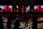 singer-songwriter Sarah McLachlan performs the Canadian national anthem prior to Game Six of the 2019 NBA Finals between the Golden State Warriors and the Toronto Raptors at ORACLE Arena on June 13, 2019 in Oakland, California. NOTE TO USER: User expressly acknowledges and agrees that, by downloading and or using this photograph, User is consenting to the terms and conditions of the Getty Images License Agreement.