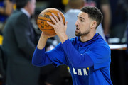 Klay Thompson #11 of the Golden State Warriors warms up prior to Game Six of the 2019 NBA Finals against the Toronto Raptors at ORACLE Arena on June 13, 2019 in Oakland, California. NOTE TO USER: User expressly acknowledges and agrees that, by downloading and or using this photograph, User is consenting to the terms and conditions of the Getty Images License Agreement.