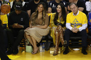 (L-R) Jay-Z, Beyonce, Nicole Curran and Joseph S. Lacob attend Game Three of the 2019 NBA Finals between the Golden State Warriors and the Toronto Raptors at ORACLE Arena on June 05, 2019 in Oakland, California. NOTE TO USER: User expressly acknowledges and agrees that, by downloading and or using this photograph, User is consenting to the terms and conditions of the Getty Images License Agreement.