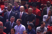NBA Commissioner Adam Silver and former President of the United States, Barack Obama look on prior to Game Two of the 2019 NBA Finals between the Golden State Warriors and the Toronto Raptors at Scotiabank Arena on June 02, 2019 in Toronto, Canada.  NOTE TO USER: User expressly acknowledges and agrees that, by downloading and or using this photograph, User is consenting to the terms and conditions of the Getty Images License Agreement.