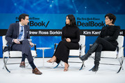 .Andrew Ross Sorkin speaks with Kim Kardashian West and Kris Jenner  onstage at 2019 New York Times Dealbook on November 06, 2019 in New York City.