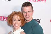 Kathy Griffin (R) and Louis Virtel arrive at the 2019 Outfest Los Angeles LGBTQ Film Festival Screening Of 'Kathy Griffin: A Hell Of A Story' at Ford Theatre on July 25, 2019 in Hollywood, California.