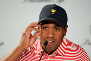 Tony Finau of the United States team speaks to the media after Thursday four-ball matches on day one of the 2019 Presidents Cup at Royal Melbourne Golf Course on December 12, 2019 in Melbourne, Australia.