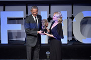 Former President Barack Obama accepts an award onstage from Robert F. Kennedy Human Rights President Kerry Kennedy during the 2019 Robert F. Kennedy Human Rights Ripple Of Hope Awards on December 12, 2018 in New York City.