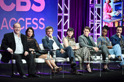 """(L-R) Marc Cherry, Lucy Lui, Jack Davenport, Ginnifer Goodwin, Sam Jaeger, Kirby Howell-Baptiste and Reid Scott of """"Why Women Kill"""" speak during the CBS segment of the 2019 Summer TCA Press Tour at The Beverly Hilton Hotel on August 1, 2019 in Beverly Hills, California."""