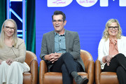 "Julie Scully, Ty Burrell and Amy Poehler of ""Bless the Harts"" and ""Duncanville"" speak during the Fox segment of the 2019 Summer TCA Press Tour at The Beverly Hilton Hotel on August 7, 2019 in Beverly Hills, California."