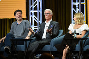 (L-R) Executive producer Michael Schur, Ted Danson, and Kristen Bell of 'The Good Place' speak during the NBC segment of the 2019 Summer TCA Press Tour at The Beverly Hilton Hotel on August 08, 2019 in Beverly Hills, California.