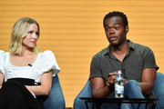 (L-R) Kristen Bell and William Jackson Harper of 'The Good Place' speak during the NBC segment of the 2019 Summer TCA Press Tour at The Beverly Hilton Hotel on August 08, 2019 in Beverly Hills, California.