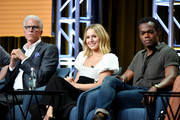 (L-R) Ted Danson, Kristen Bell, and William Jackson Harper of 'The Good Place' speak during the NBC segment of the 2019 Summer TCA Press Tour at The Beverly Hilton Hotel on August 08, 2019 in Beverly Hills, California.