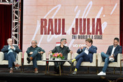 (L-R) Michael Kantor, Edward James Olmos, Esai Morales, Oskar Eustis and Ben DeJesus of Raul Julia: The World's a Stage speak during the PBS segment of the Summer 2019 Television Critics Association Press Tour 2019 at The Beverly Hilton Hotel on July 30, 2019 in Beverly Hills, California.