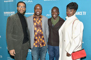"(L-R) Chiwetel Ejiofor, William Kamkwamba, Maxwell Simba and Aissa Maiga attend Salt Lake Opening Night Screening Of ""The Boy Who Harnessed The Wind"" Presented By Zions Bank during 2019 Sundance Film Festival at Rose Wagner Theatre on January 25, 2019 in Park City, Utah."