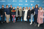 """Blake Delong, Michael Mosley, Amy Hargreaves, Anna Margaret Hollyman, Lily Rabe, Megan Ferguson, and cast and crew attend the """"Sister Aimee"""" Premiere during the 2019 Sundance Film Festival at Library Center Theater on January 26, 2019 in Park City, Utah."""