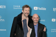 """Chris O'Dowd (L) and Nick Hornby attend the """"State Of The Union"""" Premiere during the 2019 Sundance Film Festival  at The Marc Theatre on January 28, 2019 in Park City, Utah."""