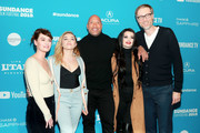 "(L-R) Lena Headey, Florence Pugh, Dwayne Johnson, Paige, and Stephen Merchant attend the Surprise Screening Of ""Fighting With My Family"" during the 2019 Sundance Film Festival  at The Ray on January 28, 2019 in Park City, Utah."