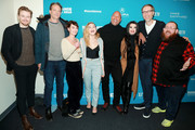 """(L-R) Jack Lowden, Vince Vaughn, Lena Headey, Florence Pugh, Dwayne Johnson, Paige, Stephen Merchant, and Nick Frost attend the Surprise Screening Of """"Fighting With My Family"""" during the 2019 Sundance Film Festival  at The Ray on January 28, 2019 in Park City, Utah."""