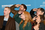 """(L-R) Co-director Dan Madison Savage, producer Gerard Butler, co-director Britt Poulton, and producers Alan Siegel and Danielle Robinson attend the """"Them That Follow"""" Premiere during the 2019 Sundance Film Festival  at Eccles Center Theatre on January 27, 2019 in Park City, Utah."""