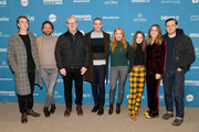 """(L-R) Actors Thomas Mann, Walton Goggins, and Jim Gaffigan, co-directors Dan Madison Savage and Britt Poulton, and actors Kaitlyn Dever, Alice Englert, and Lewis Pullman attend the """"Them That Follow"""" Premiere during the 2019 Sundance Film Festival  at Eccles Center Theatre on January 27, 2019 in Park City, Utah."""