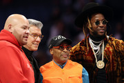 Rapper Fat Joe (L), director Spike Lee (2nd R) and rapper 2 Chainz (R) look on during the Taco Bell Skills Challenge as part of the 2019 NBA All-Star Weekend at Spectrum Center on February 16, 2019 in Charlotte, North Carolina.