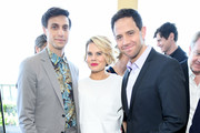 Gideon Glick, Celia Keenan-Bolger, and  Santino Fontana attend the 2019 Tony Awards Nominees' Luncheon at The Rainbow Room on May 21, 2019 in New York City.