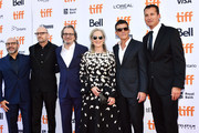 """(L-R) Scott Z. Burns, Steven Soderbergh, Gary Oldman, Meryl Streep, Antonio Banderas and guest attend """"The Laundromat"""" premiere during the 2019 Toronto International Film Festival at Princess of Wales Theatre on September 09, 2019 in Toronto, Canada."""