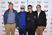 """(L-R) Tom Bernard, Pedro Almodovar, Antonio Banderas and Michael Barker attend the """"Pain And Glory"""" premiere during the 2019 Toronto International Film Festival at Ryerson Theatre on September 06, 2019 in Toronto, Canada."""