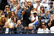 Venus Williams, coach Patrick Mouratoglou, husband Alexis Ohanian, and Meghan, Duchess of Sussex, cheer for Serena Williams of the United States during her Women's Singles final match against Bianca Andreescu of Canada on day thirteen of the 2019 US Open at the USTA Billie Jean King National Tennis Center on September 07, 2019 in the Queens borough of New York City.