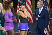Bianca Andreescu (C) of Canada reacts as she is interviewed by ESPN Reporter Tom Rinaldi (R) during the trophy presentation ceremony after winning the Women's Singles final against Serena Williams (L) of the United States on day thirteen of the 2019 US Open at the USTA Billie Jean King National Tennis Center on September 07, 2019 in the Queens borough of New York City.