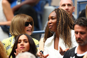 (L-R) Anna Wintoure and Venus Williams talk during the Women's Singles final match between Serena Williams of the United States and Bianca Andreescu of Canadaon day thirteen of the 2019 US Open at the USTA Billie Jean King National Tennis Center on September 07, 2019 in the Queens borough of New York City.