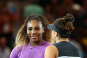 Bianca Andreescu (R) of Canada is congratulated on her win by Serena Williams (L) of the United States during the trophy presentation ceremony after the Women's Singles final on day thirteen of the 2019 US Open at the USTA Billie Jean King National Tennis Center on September 07, 2019 in the Queens borough of New York City.