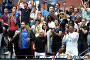 Anna Wintour, Venus Williams, coach Patrick Mouratoglou, Alexis Ohanian, and Meghan, Duchess of Sussex, cheer for Serena Williams of the United States during her Women's Singles final match against Bianca Andreescu of Canada on day thirteen of the 2019 US Open at the USTA Billie Jean King National Tennis Center on September 07, 2019 in the Queens borough of New York City.