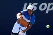 Kei Nishikori of Japan serves during his Men's Singles third round match against Alex de Minaur of Australia on day five of the 2019 US Open at the USTA Billie Jean King National Tennis Center on August 30, 2019 in Queens borough of New York City.