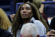 Venus Williams attends the Women's Singles quarterfinal match between Serena Williams of the United States and Qiang Wang of China on day nine of the 2019 US Open at the USTA Billie Jean King National Tennis Center on September 03, 2019 in the Queens borough of New York City.