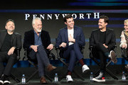 """(L-R) Danny Cannon, Bruno Heller, Jack Bannon, Ben Aldridge, and Paloma Faith of the television show """"Pennyworth"""" speak during the EPIX Networks segment of the 2019 Winter Television Critics Association Press Tour at The Langham Huntington, Pasadena on February 10, 2019 in Pasadena, California."""