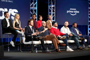 (Top L-R) Antony Starr, Erin Moriarty, Jessie Usher, Karen Fukuhara, Chace Crawford, (Bottom L-R) Jack Quaid, Eric Kripke, Seth Rogen, Evan Goldberg, and Laz Alonso of the television show 'The Boys'  speak during the Amazon Prime Video Session of the 2019 Winter Television Critics Association Press Tour at The Langham Huntington, Pasadena on February 13, 2019 in Pasadena, California.