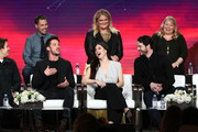 (Back L-R) Christopher Hollier, Carina Adly MacKenzie, Julie Plec, (Front L-R) Michael Trevino, Jeanine Mason and Nathan Parsons of the television show 'Roswell, New Mexico' speaks during the CW segment of the 2019 Winter Television Critics Association Press Tour at The Langham Huntington, Pasadena on January 31, 2019 in Pasadena, California.