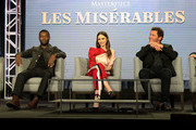 """(L-R) Rebecca Eaton, David Oyelowo, Lily Collins, Dominic West and Andrew Davies of the television show """"Les Miserables"""" speak during the PBS segment of the 2019 Winter Television Critics Association Press Tour at The Langham Huntington, Pasadena on February 01, 2019 in Pasadena, California."""