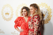 (L-R) Candace Cameron Bure and Jodie Sweetin attends Hallmark Channel And Hallmark Movies And Mysteries 2019 Winter TCA Tour at Tournament House on February 09, 2019 in Pasadena, California.