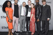 Yetide Badaki, Ricky Whittle, Omid Abtahi, Bruce Langley, Emily Browning, Demore Barnes, and Crispin Glover attend the 2019 Winter TCA Tour - STARZ Red Carpet Event at 71Above on February 12, 2019 in Los Angeles, California.