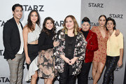 Carlos Miranda, Melissa Barrera, Chelsea Rendon, Ser Anzoategui, Mishel Prada, and Roberta Colindrez attend the 2019 Winter TCA Tour - STARZ Red Carpet Event at 71Above on February 12, 2019 in Los Angeles, California.