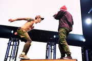 <<EDITORIAL USE ONLY. NO COMMERCIAL USE>> Tyler Joseph and Josh Dun of Twenty One Pilots performs on stage during 2019 iHeartRadio ALTer Ego at The Forum on January 19, 2019 in Inglewood, California.