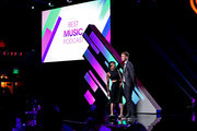 (EDITORIAL USE ONLY. NO COMMERCIAL USE) (L-R) Kim Schifino and Matt Johnson of Matt and Kim presents onstage at the 2019 iHeartRadio Podcast Awards Presented by Capital One at the iHeartRadio Theater LA on January 18, 2019 in Burbank, California.