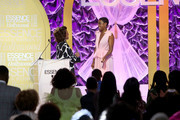 (L-R) Alfre Woodard and Honoree Lashana Lynch speak onstage during the 2020 13th Annual ESSENCE Black Women in Hollywood Luncheon at Beverly Wilshire, A Four Seasons Hotel on February 06, 2020 in Beverly Hills, California.