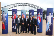 (L-R) Pat Rafter, John Newcombe, The Hon. Stuart Ayres MP NSW Minister for Tourism, Ken Rosewall and Lleyton Hewitt pose during the 2020 ATP Cup Draw at The Sydney Opera House on September 16, 2019 in Sydney, Australia.