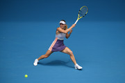 Caroline Wozniacki of Denmark plays a forehand during her Women's Singles second round match against Dayana Yastremska of Ukraine on day three of the 2020 Australian Open at Melbourne Park on January 22, 2020 in Melbourne, Australia.