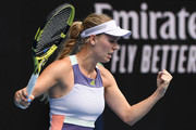 Caroline Wozniacki of Denmark celebrates after winning match point during her Women's Singles second round match against Dayana Yastremska of Ukraine on day three of the 2020 Australian Open at Melbourne Park on January 22, 2020 in Melbourne, Australia.