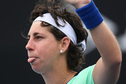 Carla Suarez Navarro of Spain acknowledges the crowd after winning her Women's Singles first round match against Aryna Sabalenka of Belarus on day three of the 2020 Australian Open at Melbourne Park on January 22, 2020 in Melbourne, Australia.