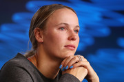 Caroline Wozniacki of Denmark speaks to media following her Women's Singles third round defeat to Ons Jabeur of Tunisia on day five of the 2020 Australian Open at Melbourne Park on January 24, 2020 in Melbourne, Australia.