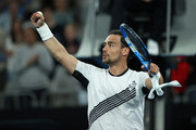Fabio Fognini of Italy celebrates to the crowd after his straight set victory in his Men's Singles third round match against Guido Pella of Argentina on day five of the 2020 Australian Open at Melbourne Park on January 24, 2020 in Melbourne, Australia.